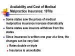 availability and cost of medical malpractice insurance 1970s