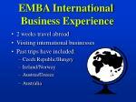 emba international business experience
