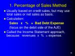 1 percentage of sales method