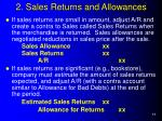 2 sales returns and allowances