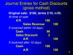 journal entries for cash discounts gross method