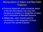 manipulation of sales and bad debt expense