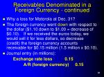 receivables denominated in a foreign currency continued