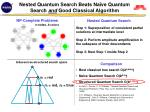nested quantum search beats na ve quantum search and good classical algorithm