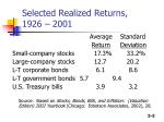 selected realized returns 1926 2001