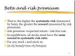 beta and risk premium