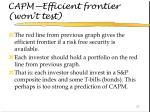 capm efficient frontier won t test67