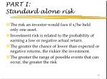 part i standard alone risk