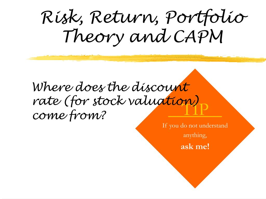 risk return portfolio theory and capm l.