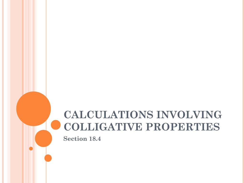 calculations involving colligative properties l.