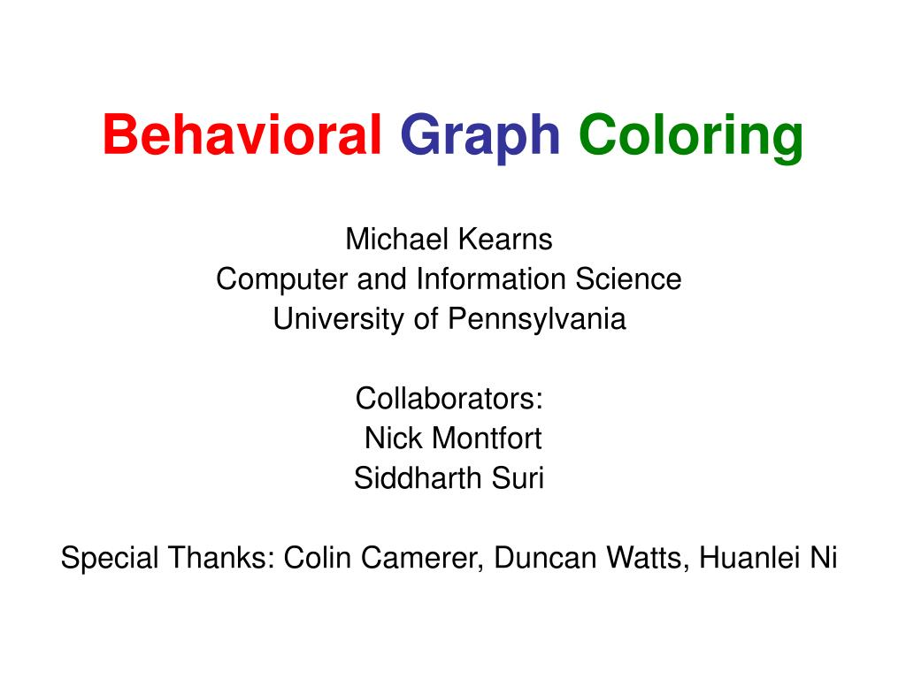 behavioral graph coloring l.