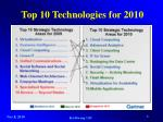 top 10 technologies for 2010