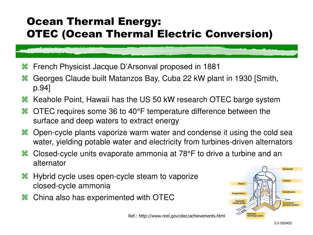 Ocean Thermal Energy: