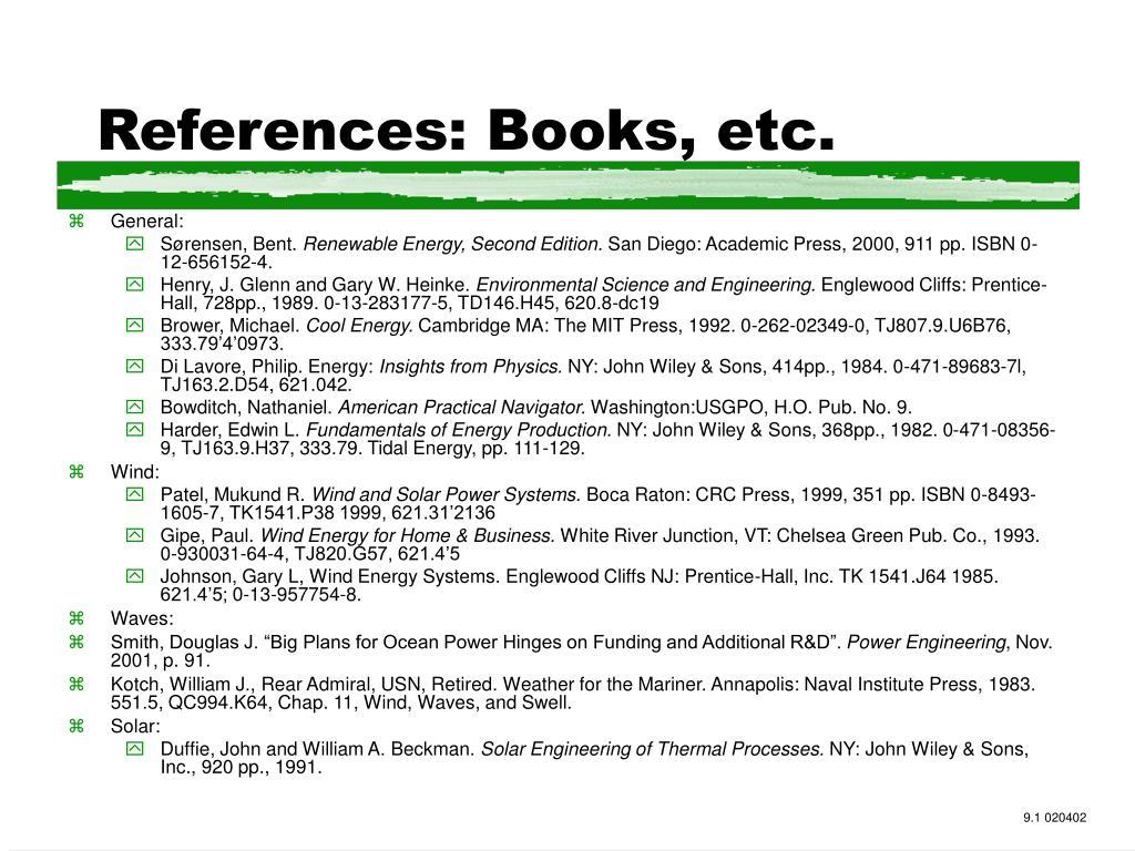 References: Books, etc.