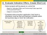 4 evaluate indicative offers create short list