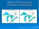1990 and 1999 comparison of nitrates in great lakes