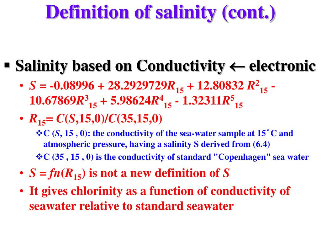 Definition of salinity (cont.)