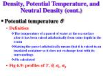 density potential temperature and neutral density cont