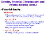 density potential temperature and neutral density cont15