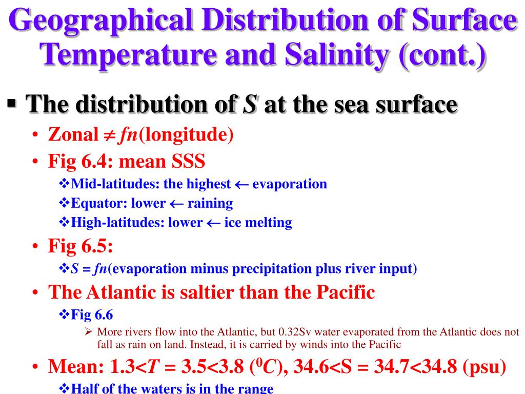 Geographical Distribution of Surface Temperature and Salinity (cont.)