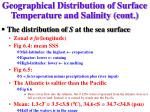 geographical distribution of surface temperature and salinity cont