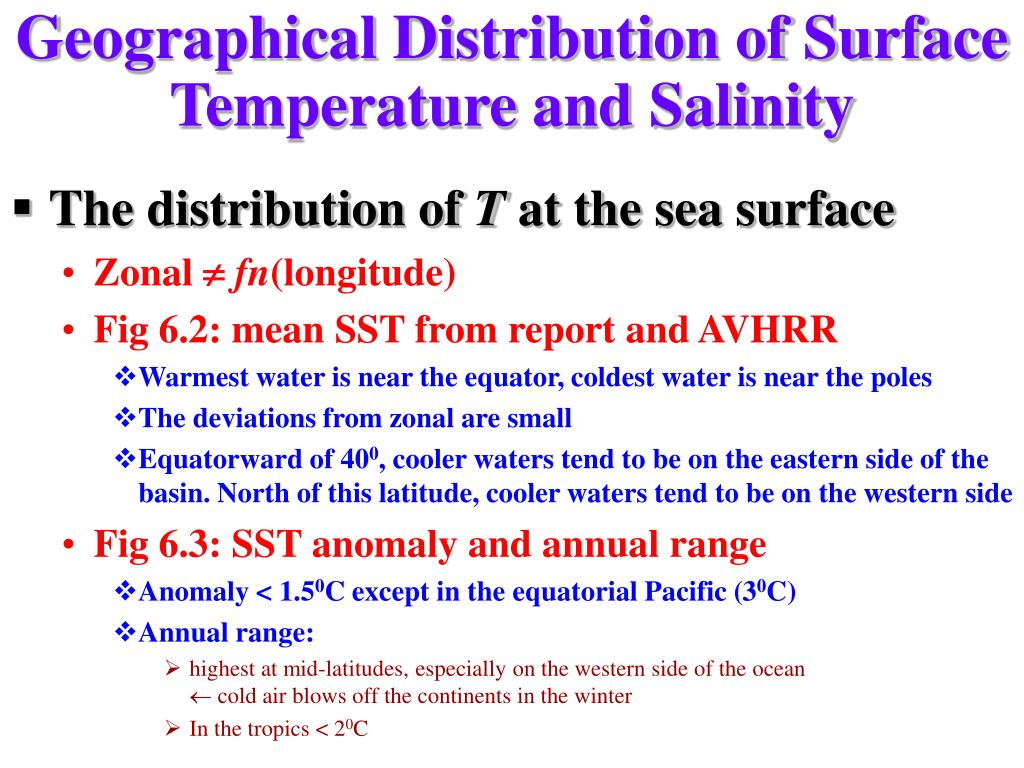 Geographical Distribution of Surface Temperature and Salinity