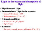 light in the ocean and absorption of light