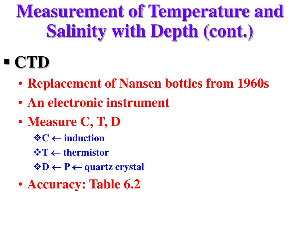 Measurement of Temperature and Salinity with Depth (cont.)