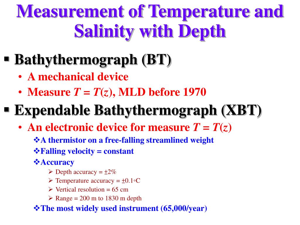 Measurement of Temperature and Salinity with Depth