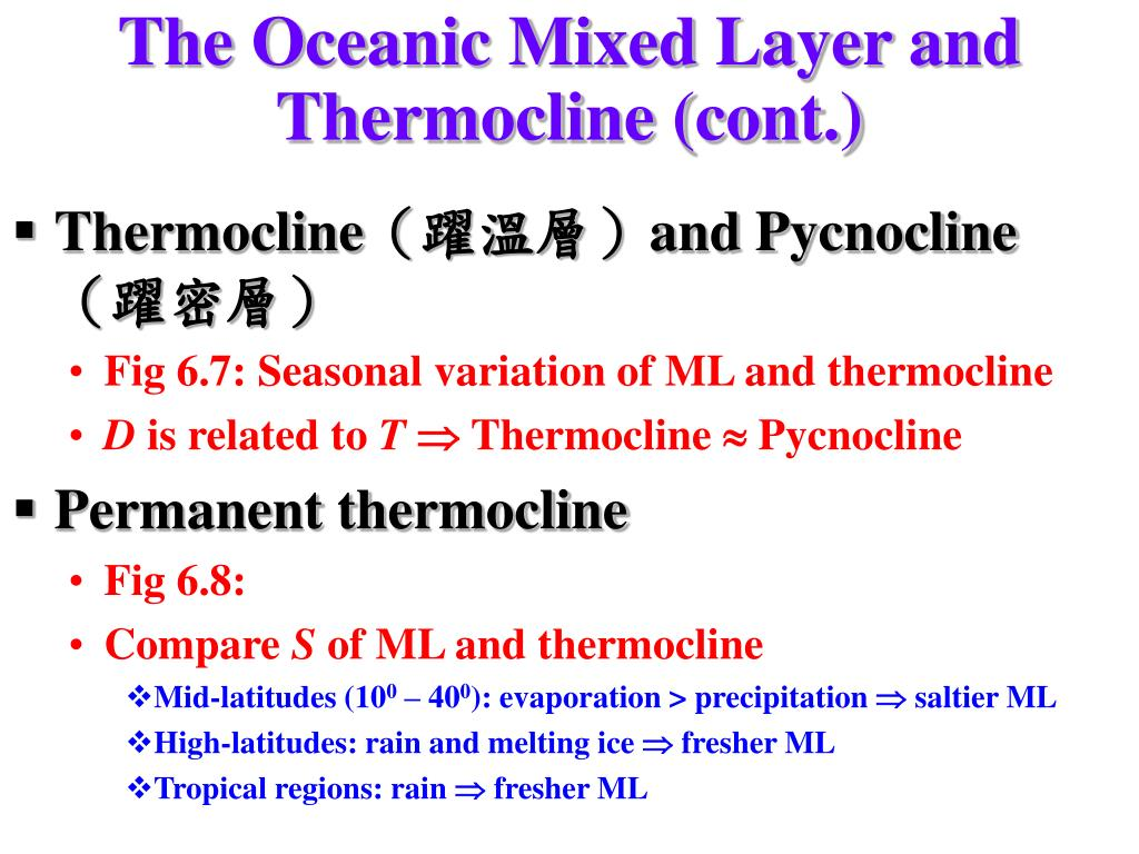 The Oceanic Mixed Layer and Thermocline (cont.)
