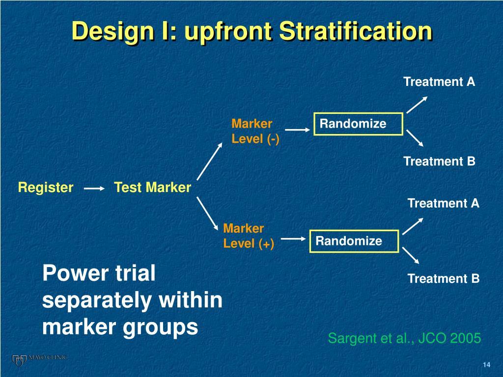 Design I: upfront Stratification