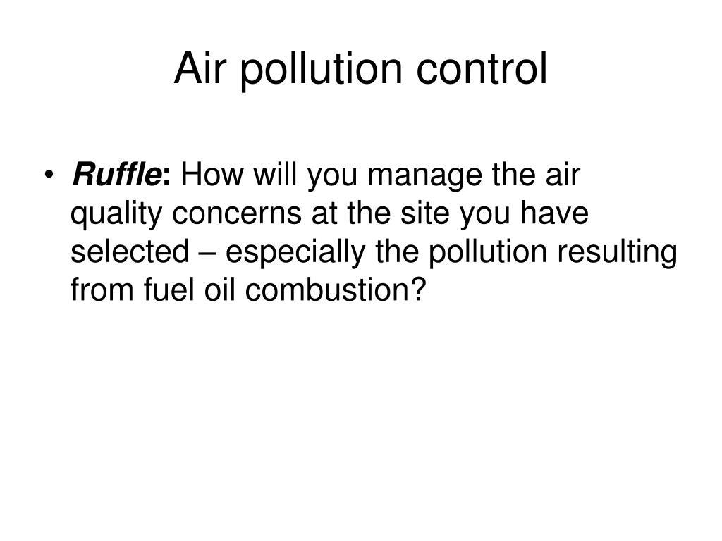 Air pollution control