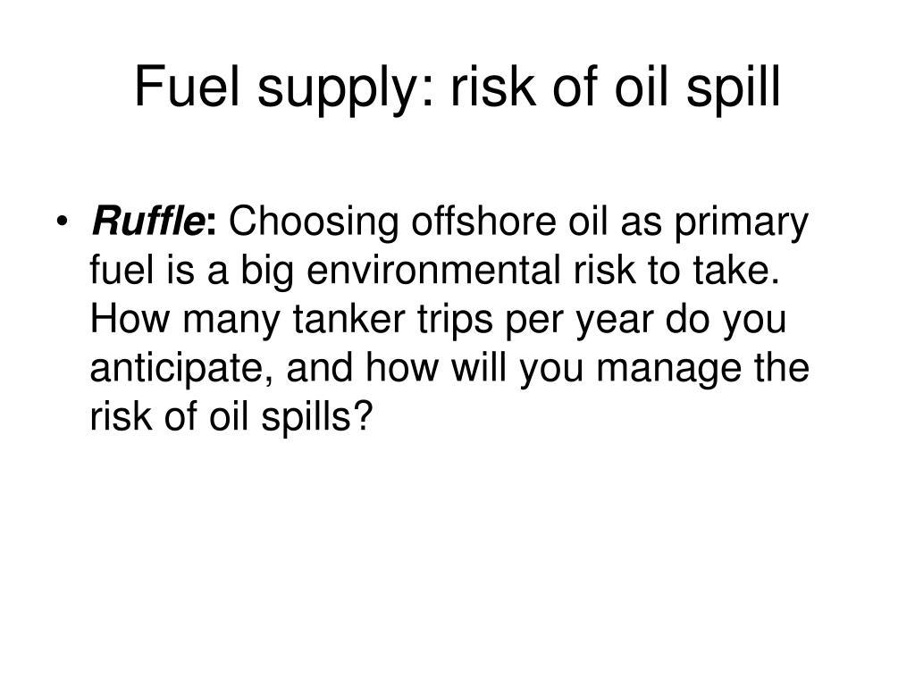 Fuel supply: risk of oil spill