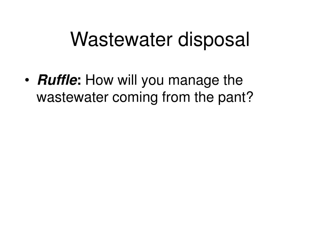 Wastewater disposal