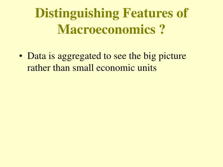 Distinguishing Features of Macroeconomics ?