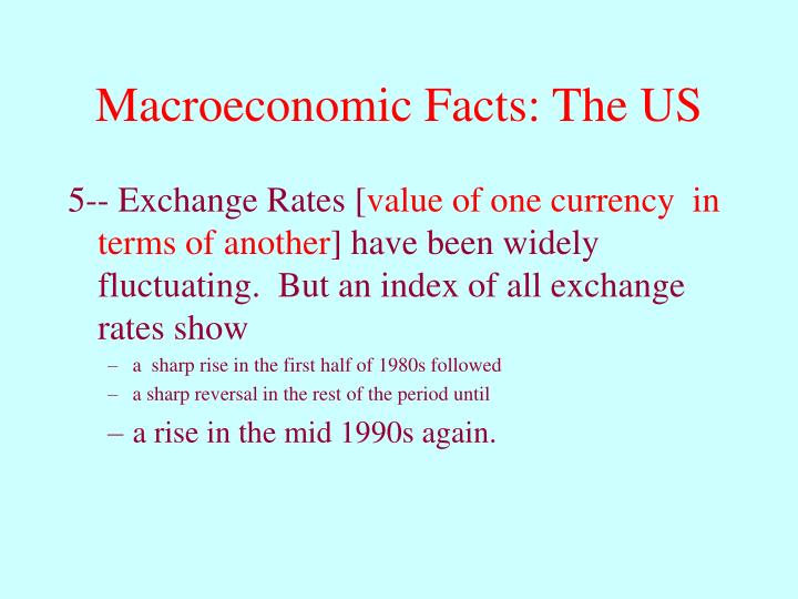 Macroeconomic Facts: The US