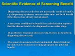 scientific evidence of screening benefit