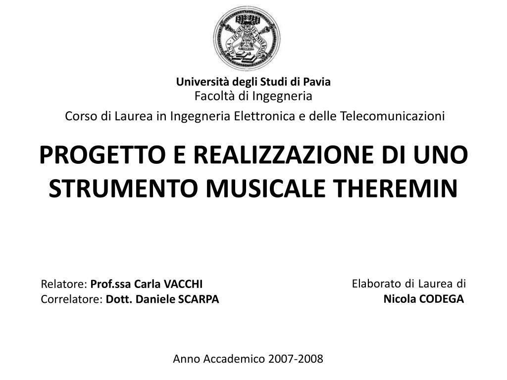 progetto e realizzazione di uno strumento musicale theremin l.
