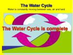 the water cycle water is constantly moving between sea air and land9