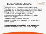 individualise advice