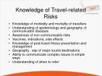 knowledge of travel related risks