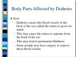 body parts affected by diabetes
