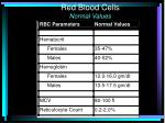 red blood cells normal values