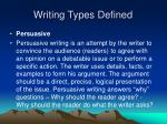 writing types defined