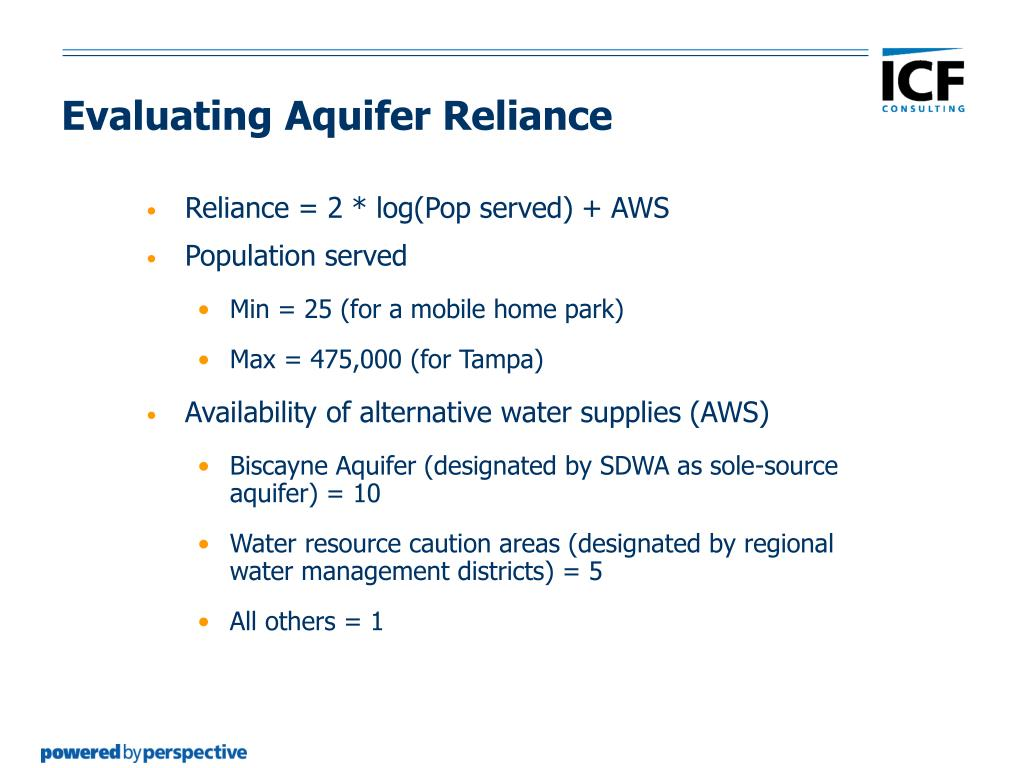 Evaluating Aquifer Reliance