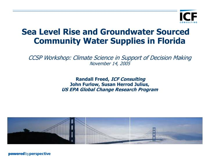 Sea Level Rise and Groundwater Sourced Community Water Supplies in Florida