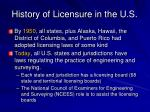history of licensure in the u s9
