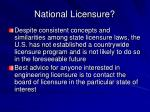 national licensure