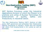 non destructive testing ndt programmes ndt section