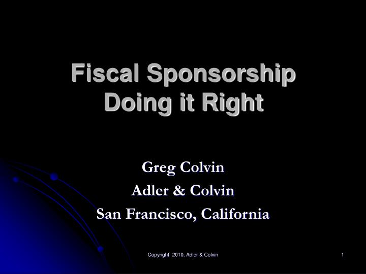 fiscal sponsorship doing it right n.